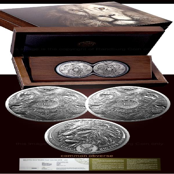 2019 r5 1oz proof fine silver big 5 double lion set -