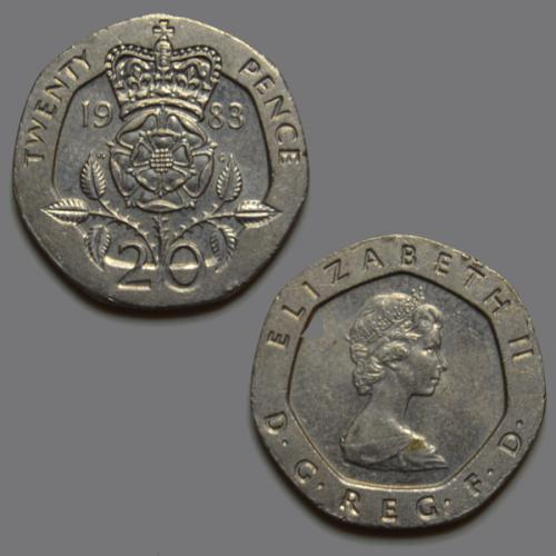 United kingdom 20 pence 1983 coin