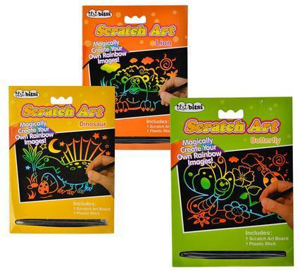 Itsi bitsi scratch art kits - lion, dinosaur and butterfly 3