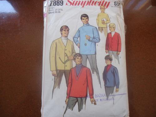 Retro simplicity patterns 7889 men's polo top size neck 14 -