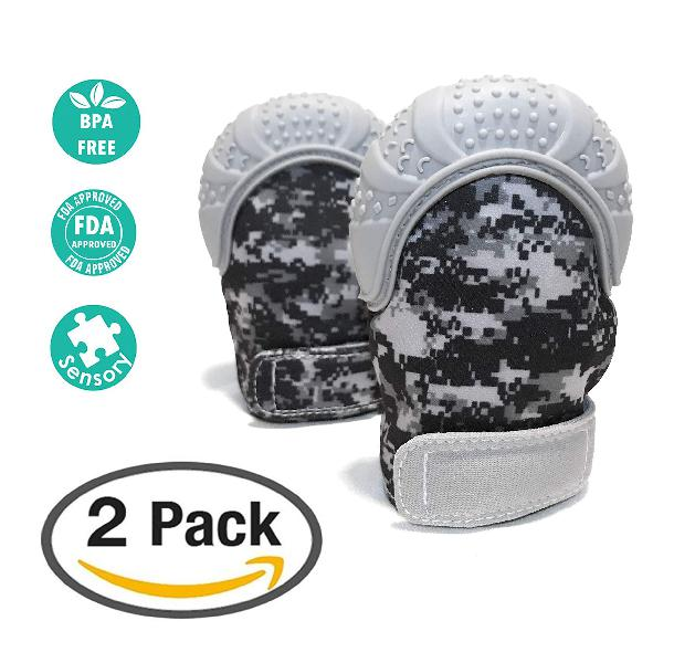 Baby teething mitten 2 packunique digital camo