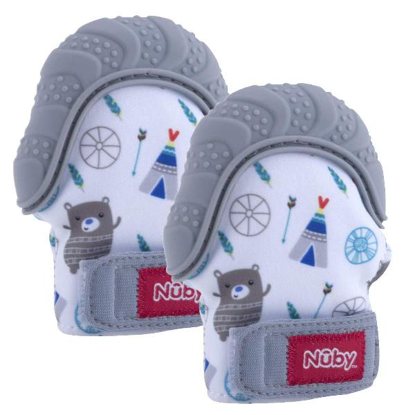 Nuby Soothing Teething Mitten with Hygienic Travel Bag, Grey