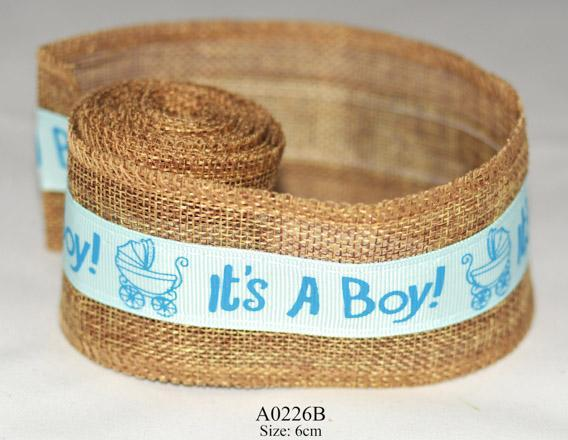 Ribbons: jute ribbons for boys & girls 1st design - blue