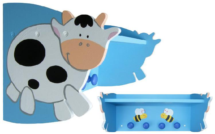 Wooden Funky Cow Shelf with Knobs