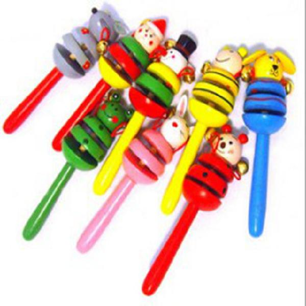 Wooden toy animal rattle cartoon hand bell