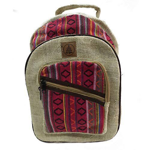 Natural large hemp backpack (large, red & blue)