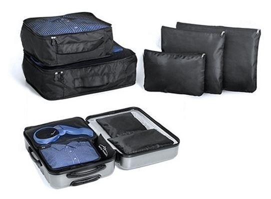 Travel pouches luggage bags organisers set 5 piece black
