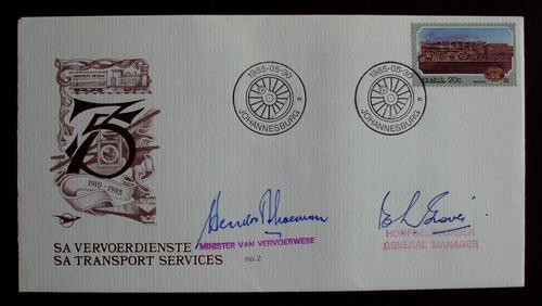 FDC 75 years transport RSA signed no. 180 mint.