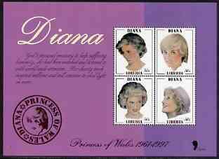 Liberia 1997 Princess Diana Memorial perf sheetlet containg