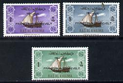 Ras Al Khaima 1965 Ships set of 3 with Franklin D Roosevelt