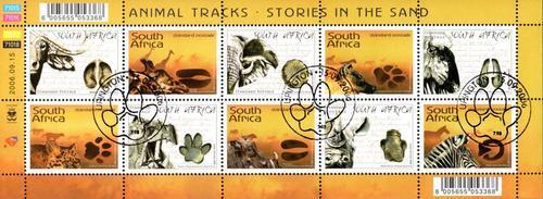 South africa - 2006 animal tracks sheet used sacc 1800