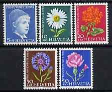 Switzerland 1963 Pro Juventute set of 5 (Flowers & Portrait