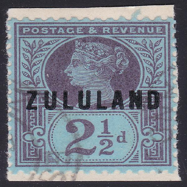 ZULULAND - SACC4 2½d PURPLE ON BLUISH PAPER - SUPERB USED