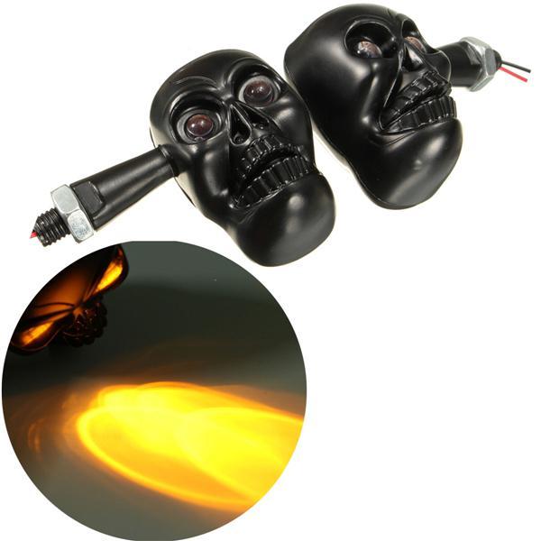 12v 4 led motorcycle skull turn signal indicator amber light