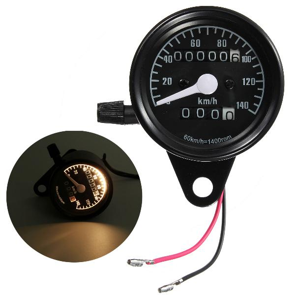 Motorcycle dual odometer speedometer mechanical gauge black