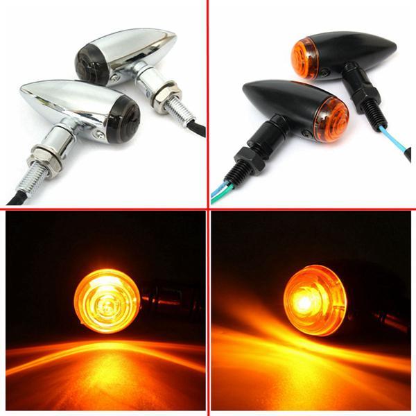 Pair 10mm motorcycle bullet turn signal indicator light lamp