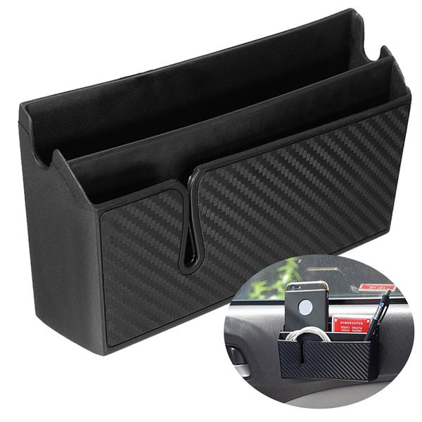 Pvc carbon fiber style car air vent arm rest storage box