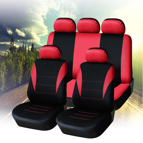 Universal four seasons red black fabric car seat covers
