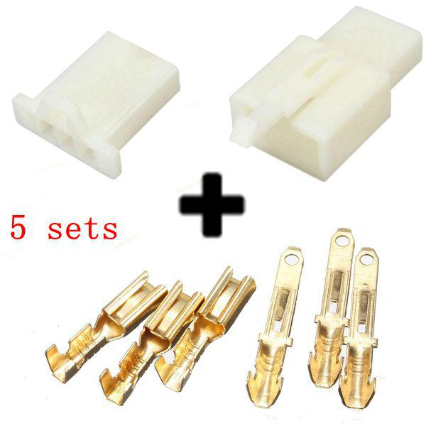 5sets 2.8mm 3 way motorcycle electrical male female