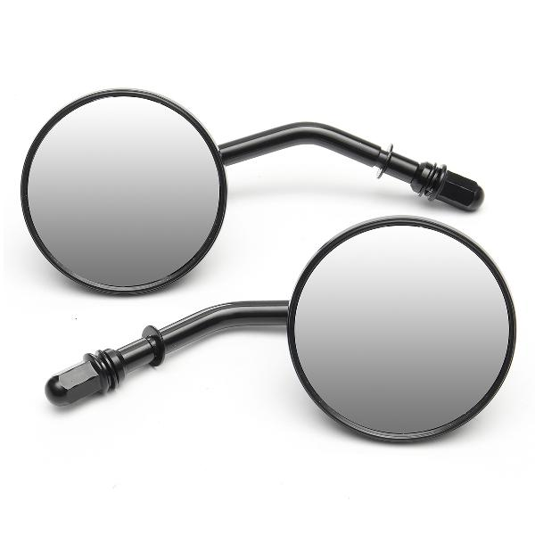 Pair round 3inch motorcycle mirrors black for harley
