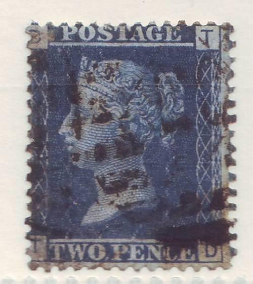 Gb - qv 1858 2d blue plate 12 vf used