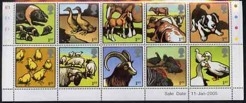 Great britain 2005 farm animals perf set of 10 unmounted