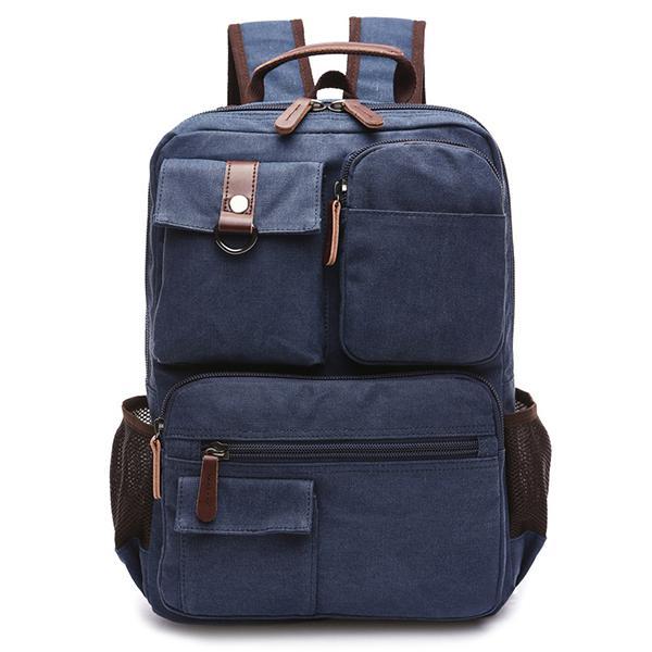 14inch Laptop Men Canvas Backpack Travel Hiking Large