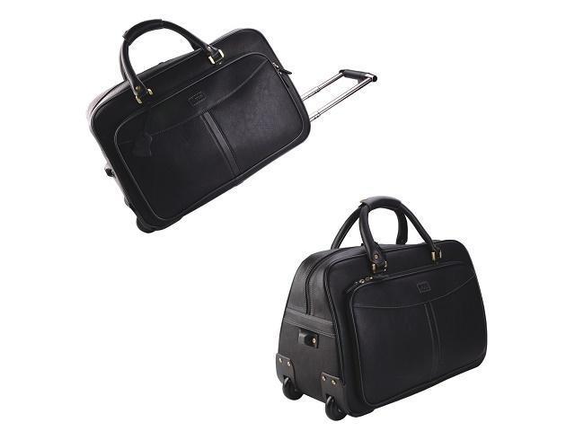 Adpel Monaco Leather Duffel on Wheels | Black