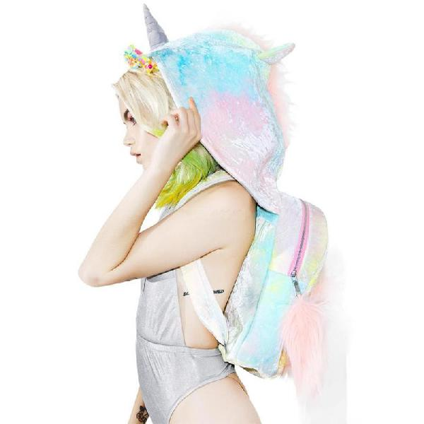 Baby Soft Girl's Tie-dyed Unicorn Hooded Backpack Removable