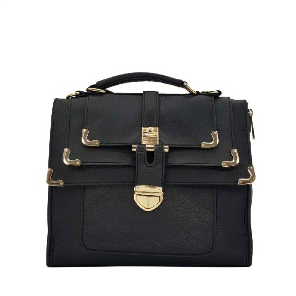 Black PU Leather Handbag with Gold Edges & Finishes |LE040