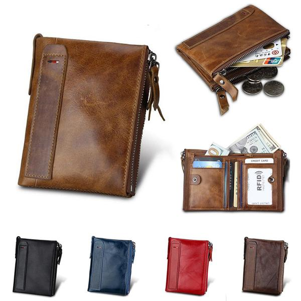 Ipree men's vintage rfid blocking wallet genuine leather id