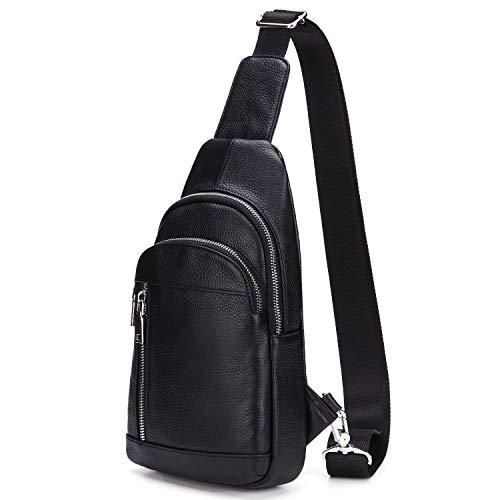 LXFF Men's Leather Sling Bag Chest Bag Pack Backpack