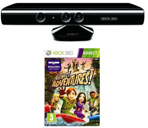 Xbox 360 kinect sensor with kinect adventures game bundle