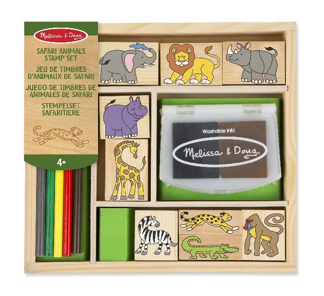Melissa & doug 18786 safari animals wooden stamp set with 9