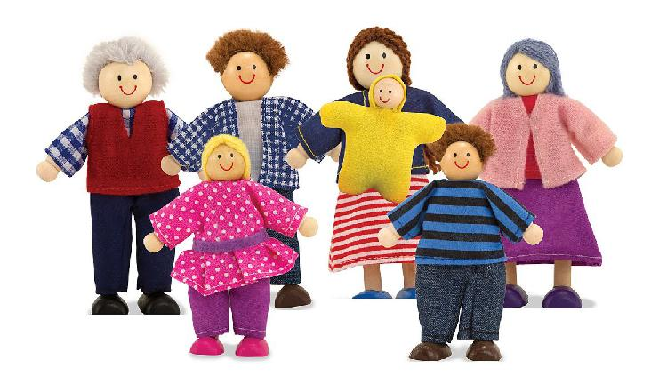 Melissa & Doug 7-Piece Poseable Wooden Doll Family for 0