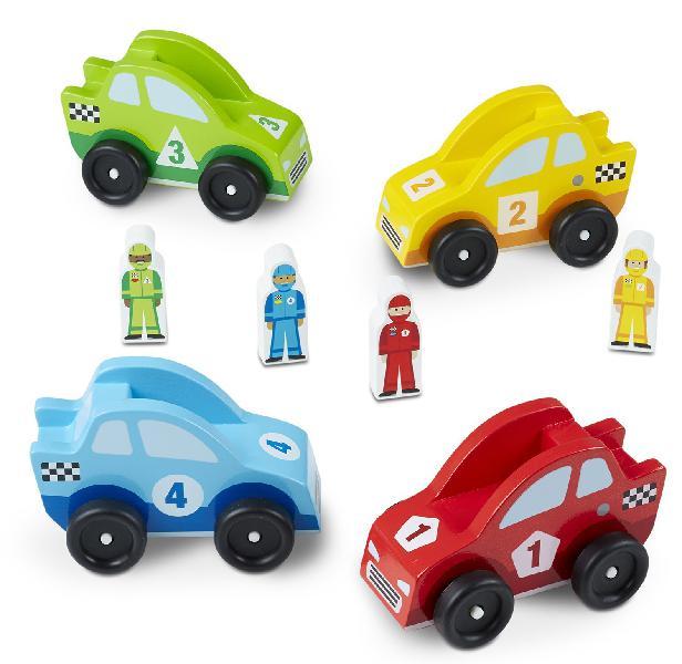 Melissa & doug wooden race car vehicle set