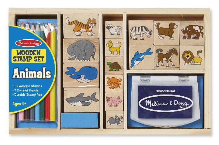 Melissa & doug wooden stamp set: animals - 16 stamps, 7