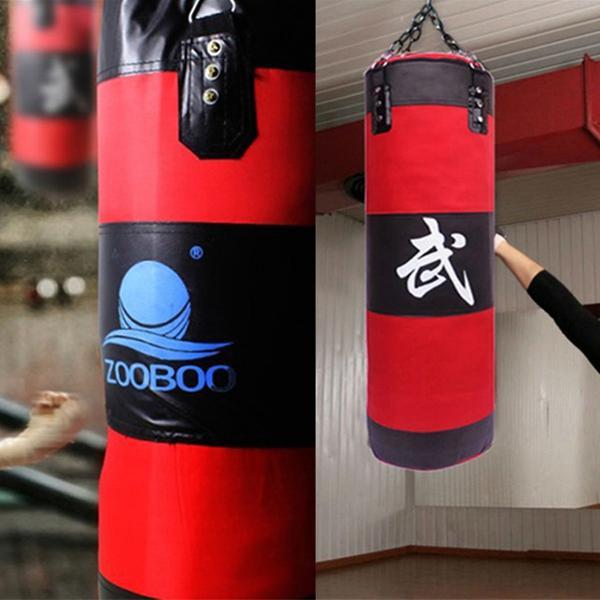 Empty hanging boxing punching sandbag mma training kick pad