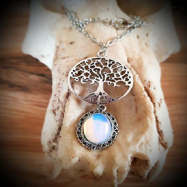 Opalite tree of life necklace, organic crystal jewellery