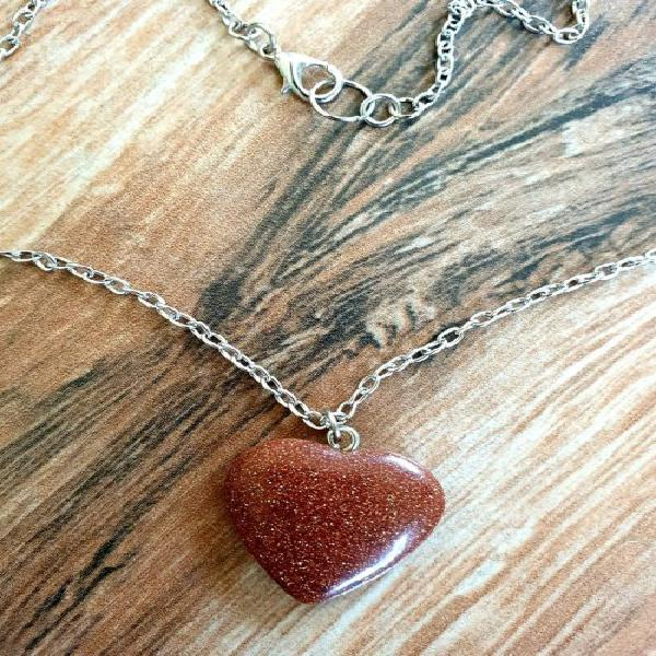Gold sandstone heart necklace, crystal esoteric jewellery,