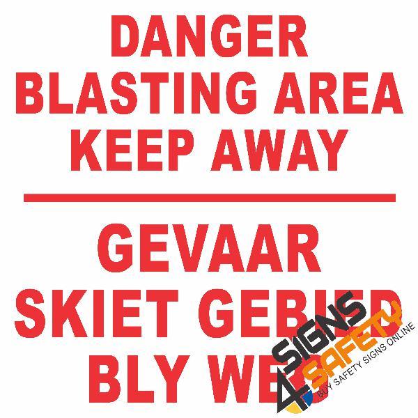 C3) danger blasting area keep away sign - 925mm * 925mm