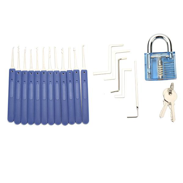 12pcs Unlocking Lock Pick Set 1pc Transparent Padlock 10pcs Key Extractor Set