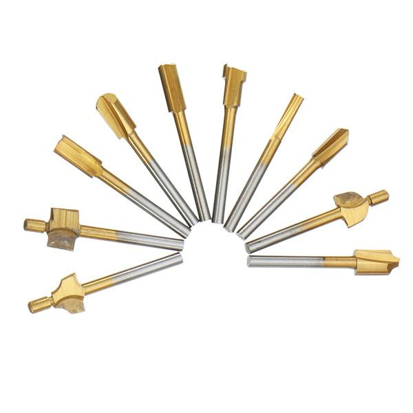 10pcs titanium coating wood router bits rotary file burr
