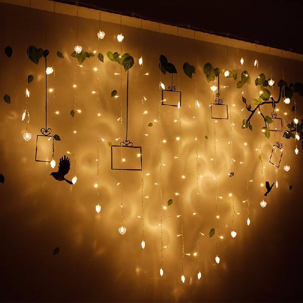 2x1m 128 led heart shape light string 220v curtain light