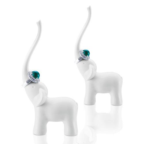 Honana dx-f1 elephant swan ceramics ring holder elegant