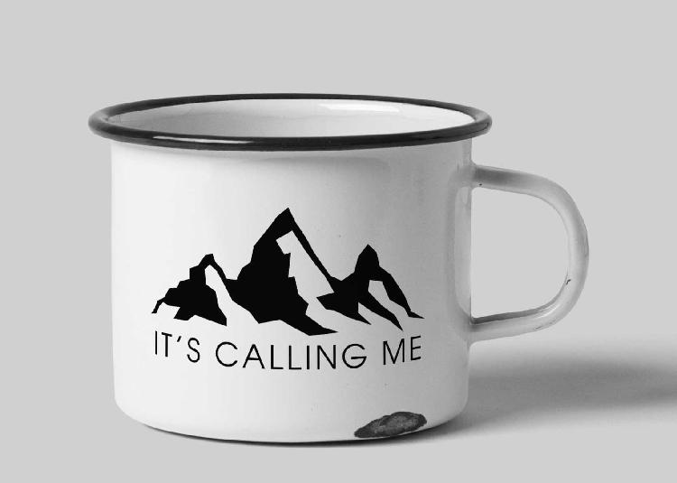 It's calling me white enamel custom tin mug - cream