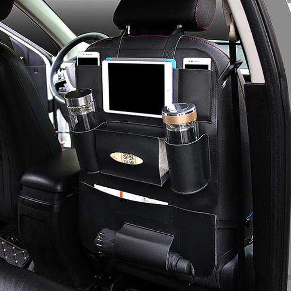 Multi-functional pu leather car back seat storage bag