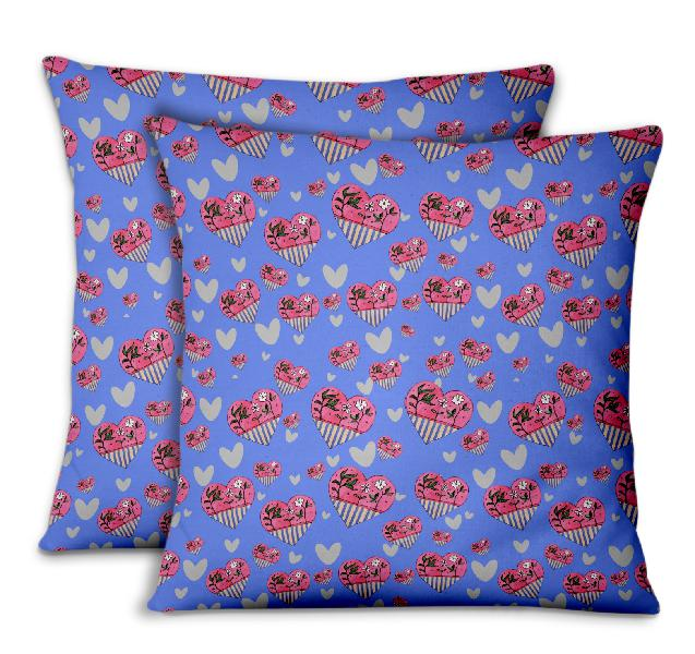 S4sassy cushion cover white floral & heart decorative
