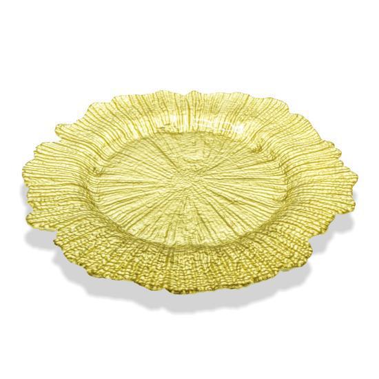 Under plates - glass - flower leaf pattern