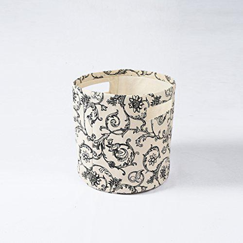 Vliving storage basket, cotton canvas fabric, swirl print,
